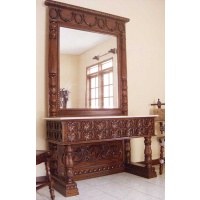 Indonesia furniture manufacturer and wholesaler Console heavy carving + mirror with marble
