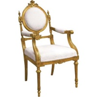 Indonesia furniture manufacturer and wholesaler Gilt Armchair Cream Upholstery